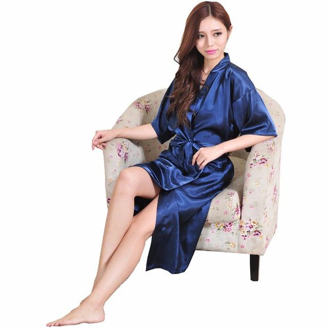 Темно-синий летние женщин шелковые сексуальное женское белье халат ночная рубашка ...