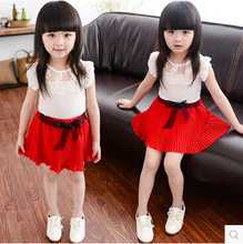 Children Clothing set Girls 2pcs Sets Kid Sleeveless Lace T Shirt Tops  Bow Pleated Skirt Kids Girl Sweet summer Outfits TZ-A029(China (Mainland))