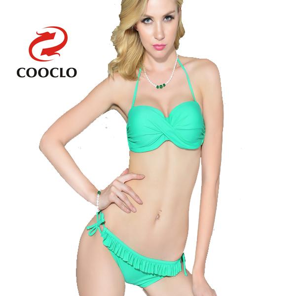 Женщины biquini оборка нижние ретро комплект бикини твист купальник 2015 быстрая доставка дешевой купальники бикини бразильский бикини