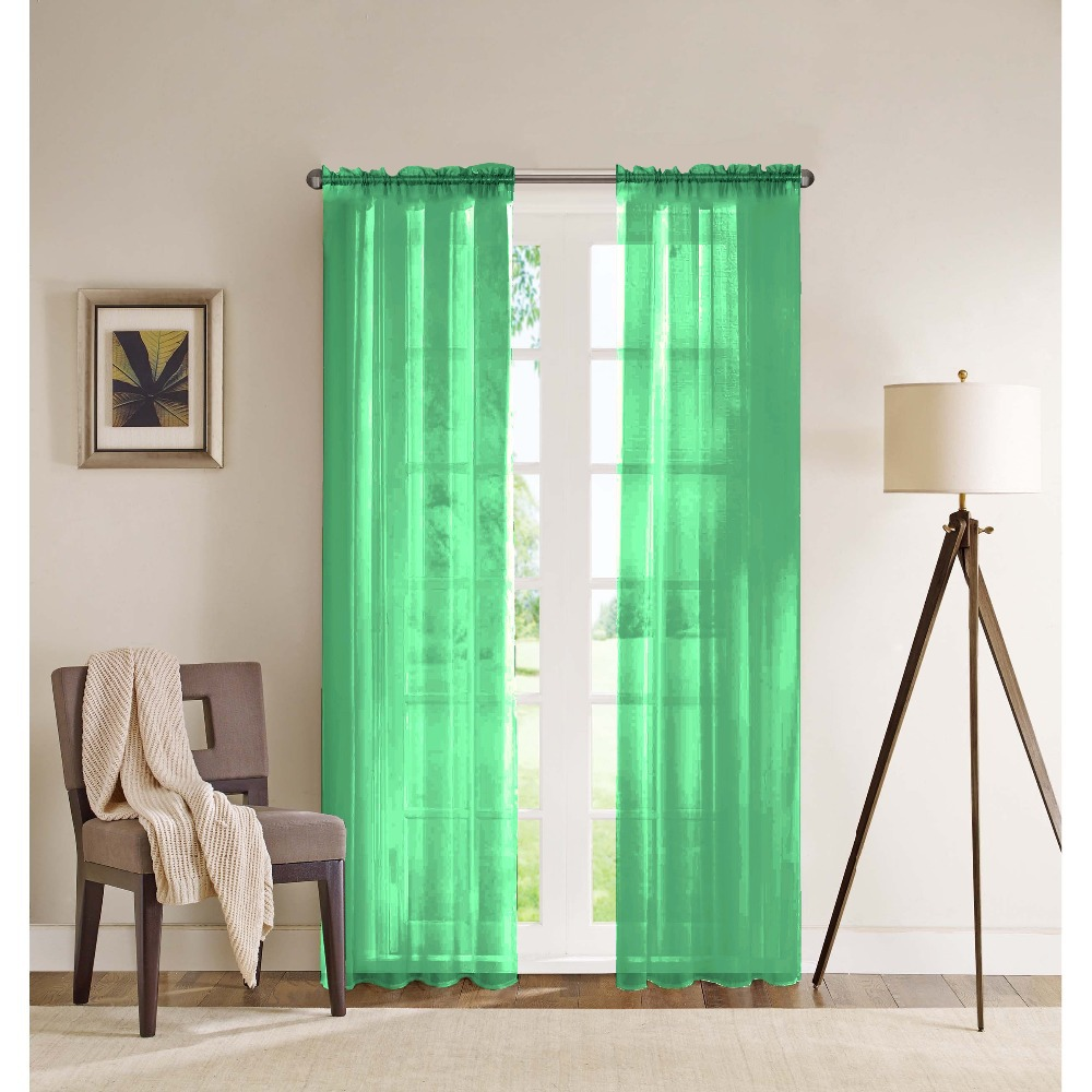 Two Pieces European Modern Solid Color Organza Voile Sheer Curtain Drape Panel Door Living Room