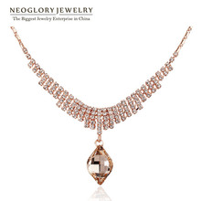 Neoglory Austrian Crystal Rhinestone Rose Gold Plated Choker Pendant Necklace For Women New 2015 Arrival Elegant Charm Jewelry(China (Mainland))