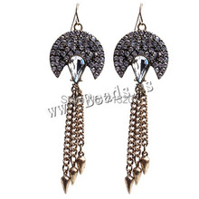 Free shipping!!!Tassel Earring,Kawaii,,  , antique gold color plated, faceted & with rhinestone, nickel, lead & cadmium free(China (Mainland))