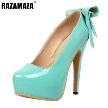 Buy Women Platform High Heel Shoes Fashion Lady Bowtie Bowknot Heels Pumps Woman Sexy Party Wedding Heeled Footwear Shoes Size 34-47 for $46.98 in AliExpress store