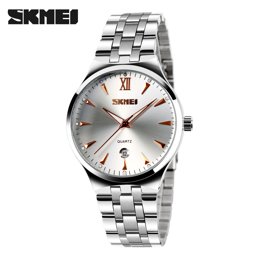 SKMEI Fashion Auto Date Display Watch Men Stainless Full Steel Strap Relogio Male Clock Wristwatch Quartz Sport Watches 9071 - TYT Professional Wristwatches store