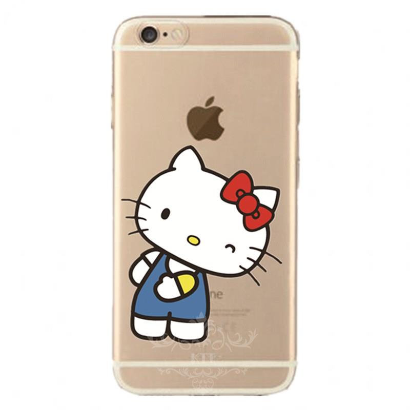 Transparent Silicone Cartoon Cute Hello Kitty Tpu Nero cell phone bags case cover for iphone 4S 5S 5C SE 6S 7 PLUS IPOD Samsung(China (Mainland))