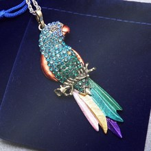 Long Jewelry Sweater Necklace 2015 New Bird pendant Exquisite Colourful Parrot Pendants Necklaces Fashion Necklaces For Woman(China (Mainland))