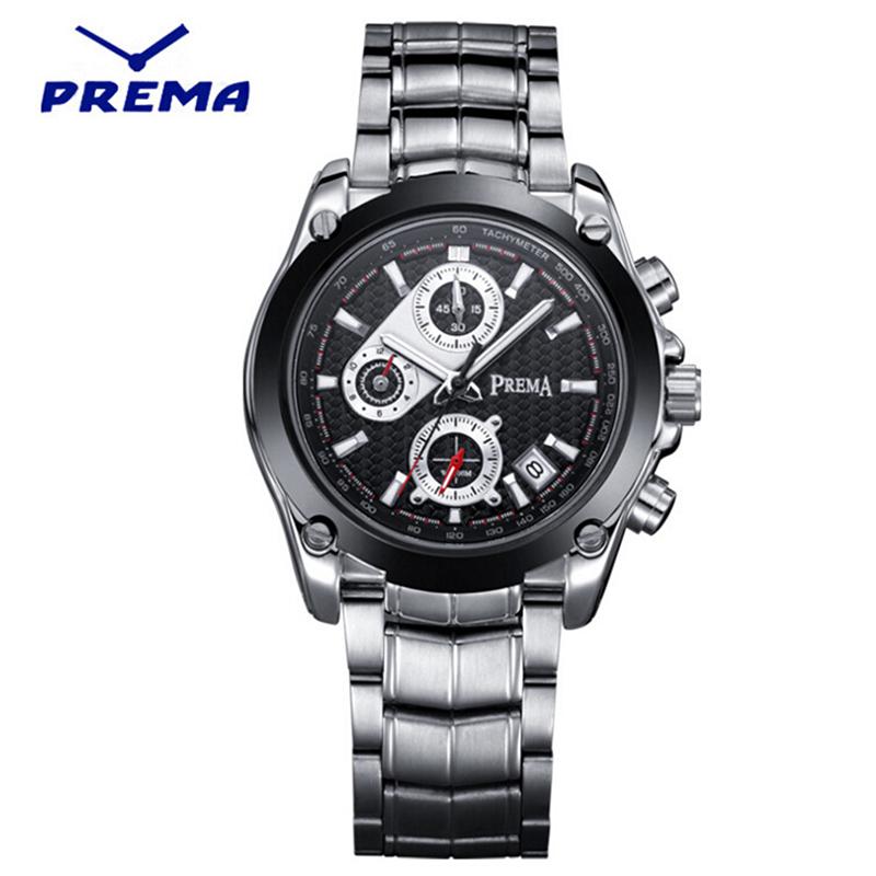 Prema 6123 Mens Chronograph Date Black Dial Quartz Sports Bracelet watch Men Quartz Watch Analog Wristwatch<br><br>Aliexpress