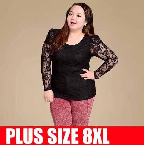 Super plus size 8xl t shirts women lace long sleeve autumn for Girls shirts size 8