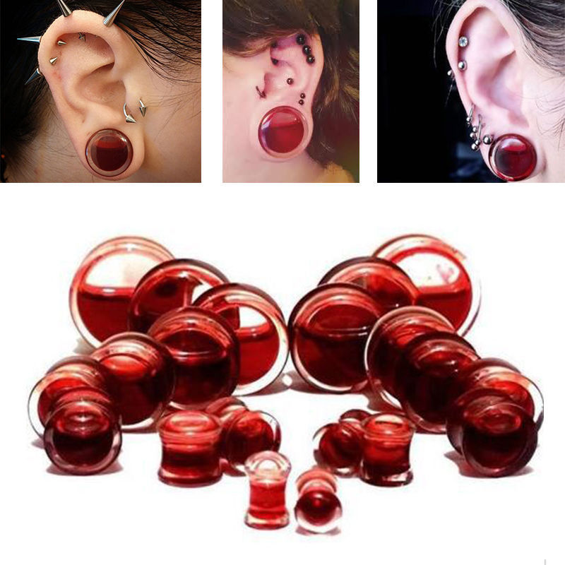 Pair Blood Red Liquid Filled Ear Plugs Flesh Tunnels Gauges Saddle Body Piercing Jewelry Ear Reamer Expander 6-20mm(China (Mainland))