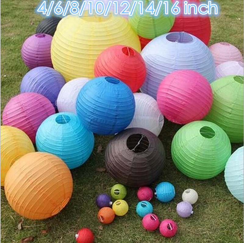 13 colors 4/6/8/10/12/16 inch 2016 paper lantern wedding party decoration mariage decor party supplies bride accessories(China (Mainland))