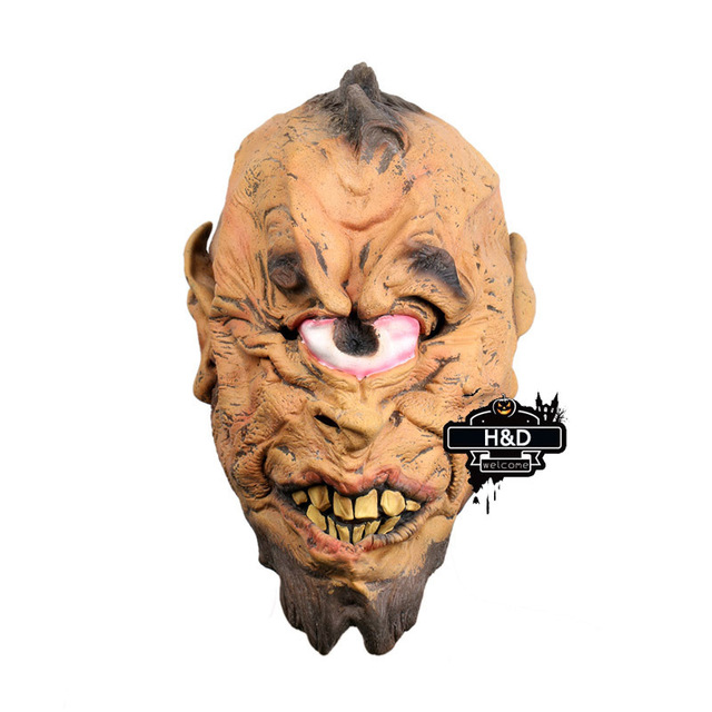 Latex Full Head Cyclops Eye Mask Scary Halloween Masquerade Costume Cosplay Adult Party Masks