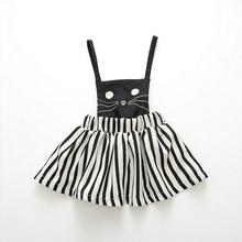 Free Shipping Hot Sales New Fashion European And American Girls' Children's Wear Striped Cat Children Suspender  Cotton Skirt(China (Mainland))