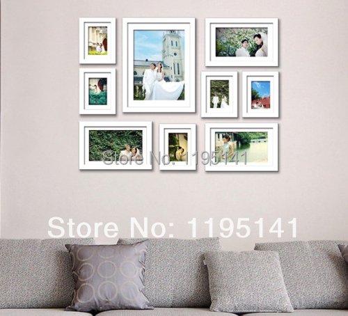Free Shipping 9 Pcs Eco Friendly Photo Frames Set Wall