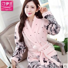 Flannel Couples Bathrobes Women's Robes Winter Dressing Gowns For Women Male Female Kimono Robe Thickening Casual Home Clothes(China (Mainland))