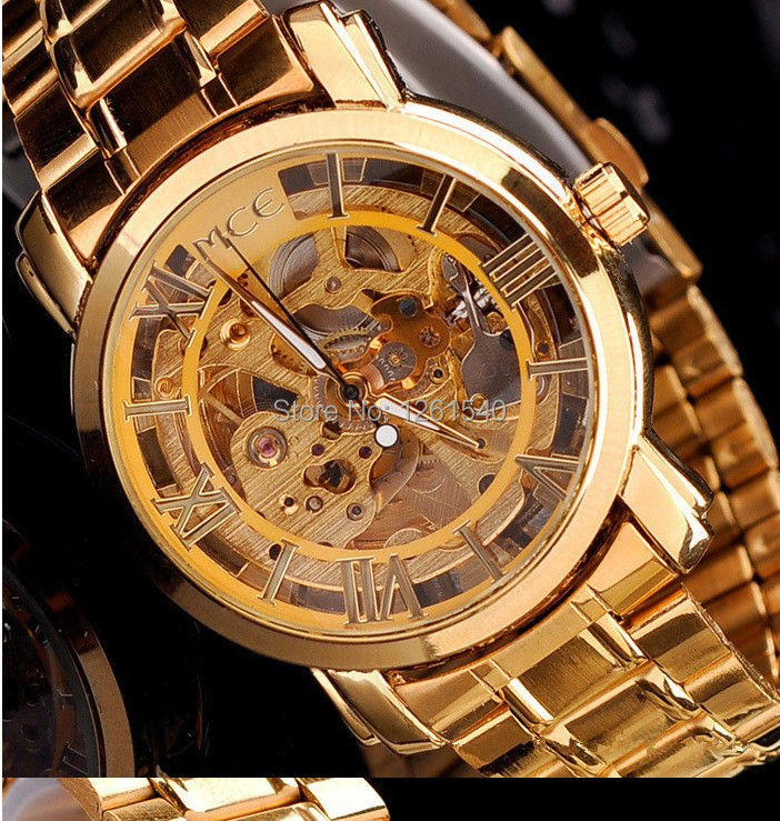 Fashion double sided hollow out watch automatic mechanical watch authentic rose gold men leisure steel strip