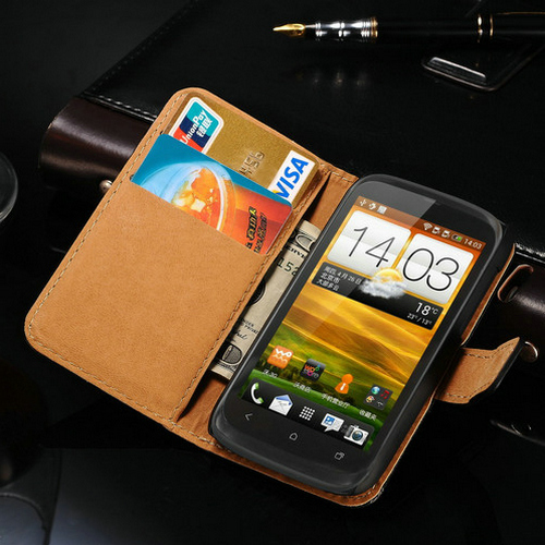 Luxury Genuine Flip Leather Case For HTC Desire V T328T T328W T328D Wallet Style Stand Design Back Cover For HTC T328 2Card Slot(China (Mainland))