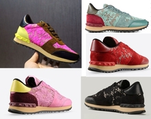2015  summer hot  lady  Valentine  rivets fashion  sneakers breathable  lace  genuine leather  lace up women flats shoe man(China (Mainland))