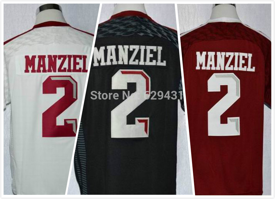 New Arrival Popular Hot Sale Johnny Manziel Jersey #2 Texas Collegiate Football Jerseys Red White Black Top Quality Embroidery L(China (Mainland))