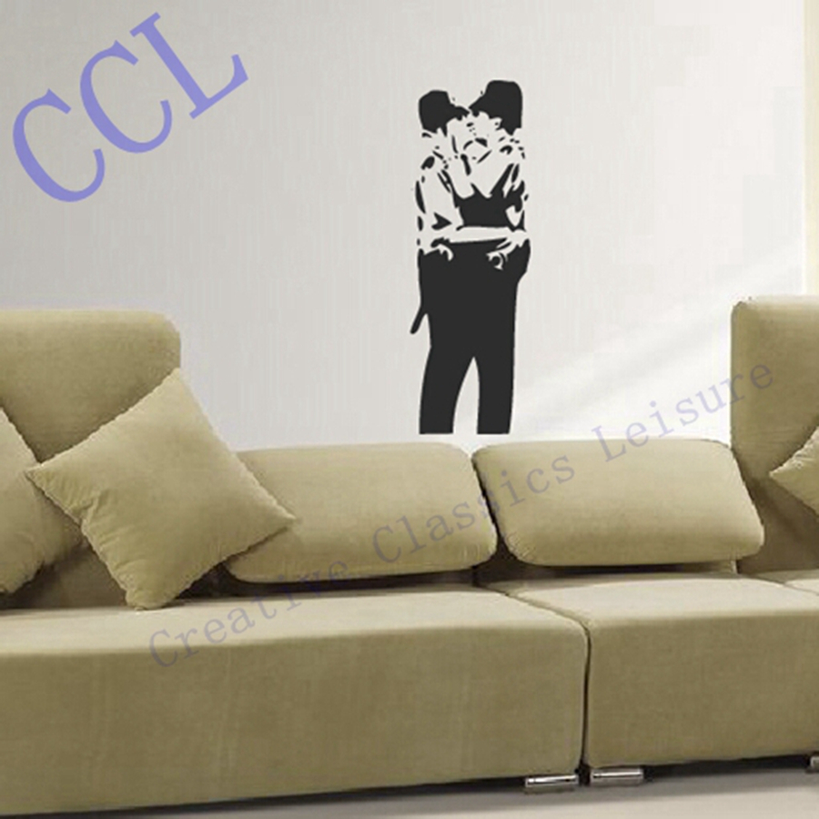 Free shipping Large size Banksy Famous Kissing Copper Graffiti Wall Decal Sticker Vinyl - Kissing police(China (Mainland))