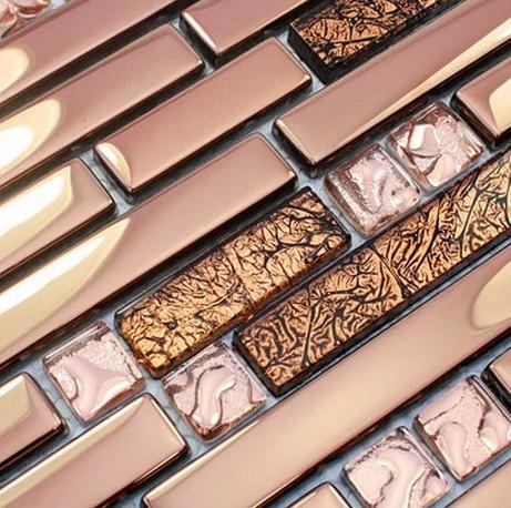 pink color stainless steel mixed electroplating glass tiles for kitchen glass backsplash tile bathroom shower tile mosaic border(China (Mainland))