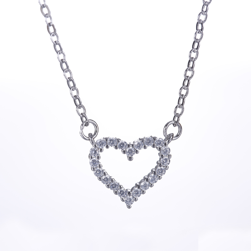 Free Shipping!925 Sterling Silver Simple Fresh Design Exquisite Rhinestone Necklace Necklace Silver Hollow Heart Necklace Gifts(China (Mainland))