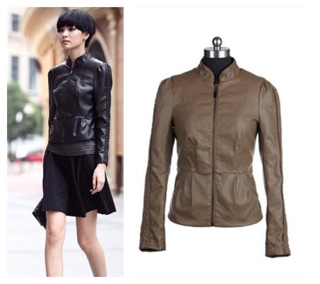 2014 fall winter fashion women khaki black pleated motorcycle pu faux leather jacket lady casual biker coat clothing