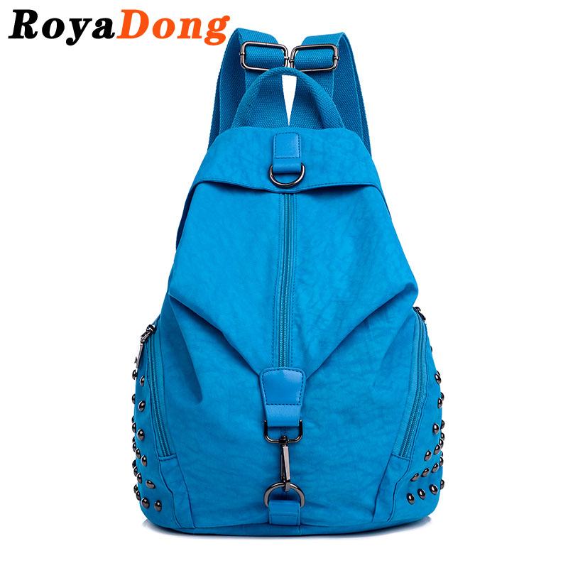 Backpack Women School Bags For Teenagers Girls Rucksack Bagpack Nylon Fashion Preppy Style Rivet 2016 Mochila Escolar Sac A Dos(China (Mainland))