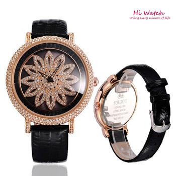 Вращающийся цветок циферблат Relogios Femininos 2014 женские часы ремень из натуральной кожи Reloj де Marca женские часы марки дизайнеров
