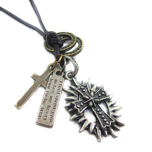 Leather Necklace Women Chain Vintage Cross Thorn Pendant Necklaces European Brand Jewelry Cool Punk VLN119 - sanson feng's store