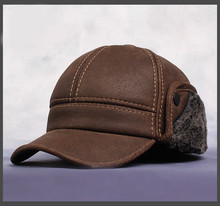 HL083  New New Fashion Men's Scrub Genuine Leather baseball Winter Warm baseball Hat / Cap 2colors(China (Mainland))