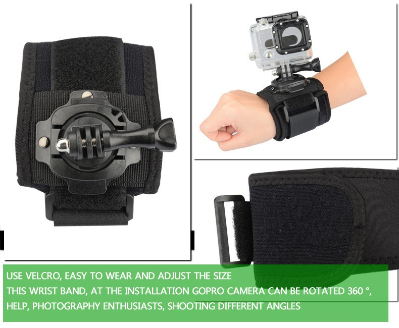 Gopro Accessories 360 Degrees Wrist Mount Band Strap And Screw For GO PRO Hero 4 3 2 1 For SJ4000 SJ5000 Xiaomi Yi Action Camera