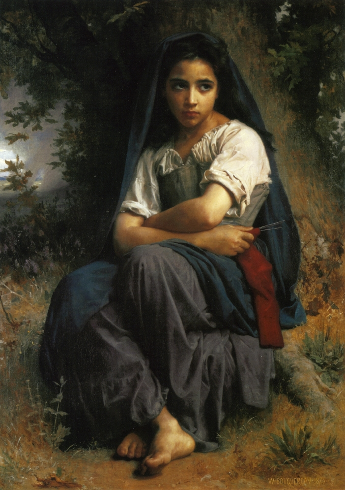 Handmade Oil painting reproduction The Little Knitter by William Bouguereau(China (Mainland))