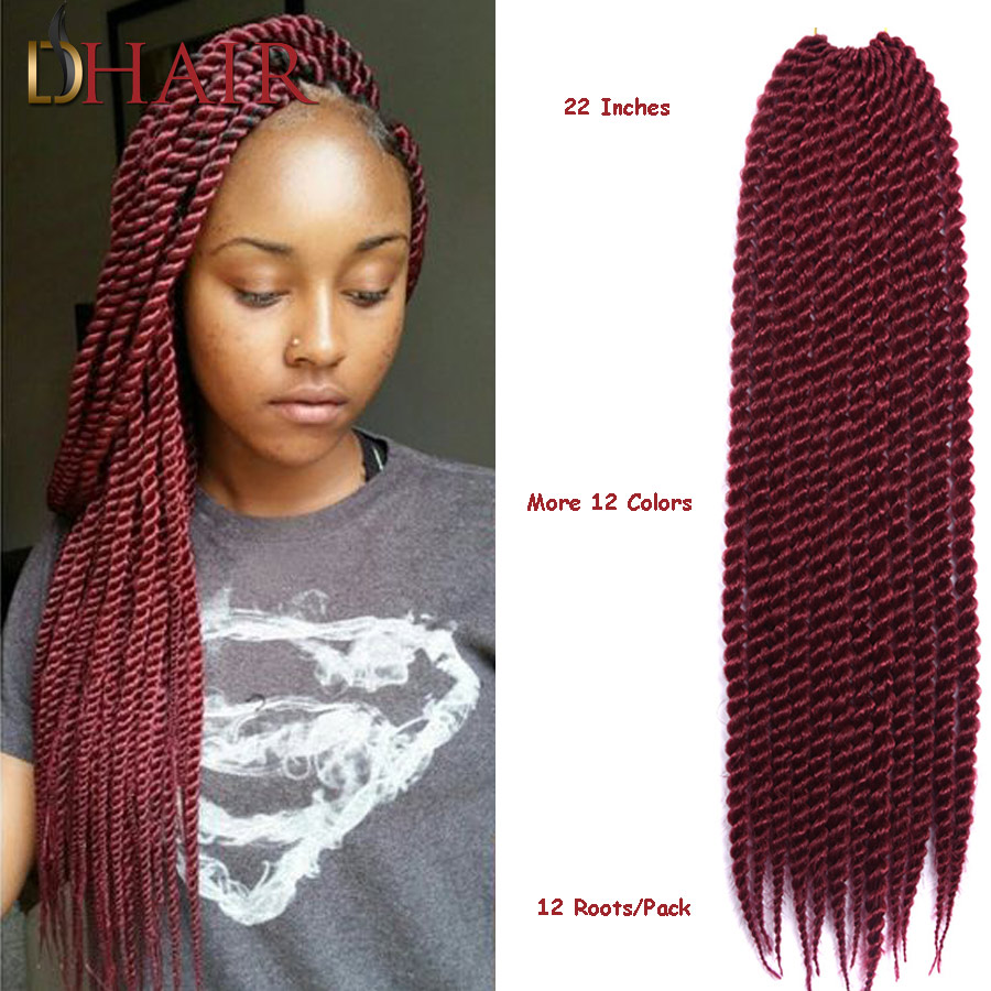 Inexpensive Senegal Twist Crochet Twist Hair Extensions For Women Quality Kanekalon Jumbo Synthetic Hair 22Inch 85G 12Roots/Pack(China (Mainland))