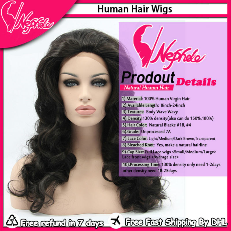Best Quality 7A Virgin Brazilian Human Hair Body Wave Wavy Cheap Lace Front Wig&Glueless Full Lace Wigs For Black Women wig Sale(China (Mainland))