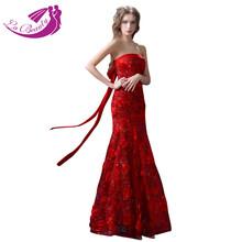 Elegant Long Evening Dress 2015 Appliques Strapless Red Formal Dresses Vestido Longo Off the Shoulder Vestido De Festa KW954(China (Mainland))