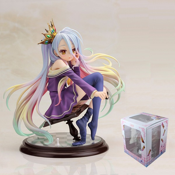 "FREE SHIPPING Japanese Animation NO GAME NO LIFE Shiro 1/7 Scale Pre-painted PVC Figure 16cm/6.4"" Toy No Box & In Box New(China (Mainland))"