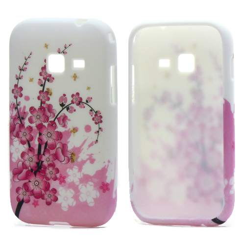 Pink Plum Blossom TPU Gel Cover Cases Accessories Samsung Galaxy Ace Duos S6802 S6358 S6352 Phone Bags - Yuanwang digital accessories store