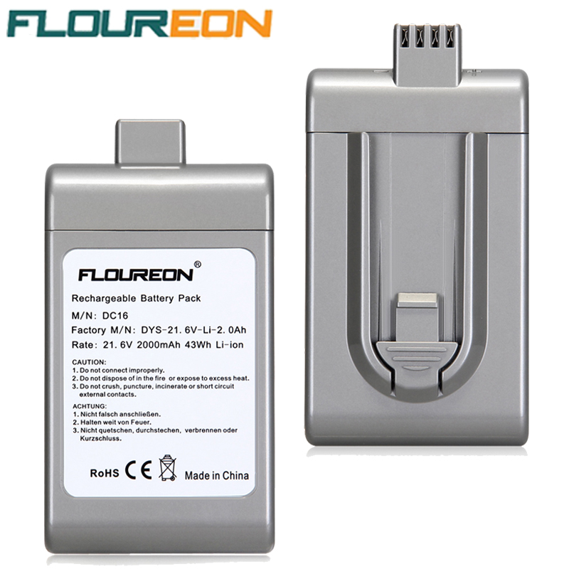 2000mAh FLOUREON Vacuum Cleaner Battery Rechargeable Packs Replacement Cordless Bateria for Dyson DC16 BP01 21.6V Li-ion(China (Mainland))