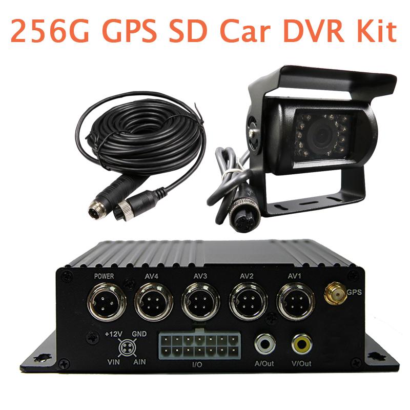 Новый 4 канальный автомобильный GPS g-сенсор видеорегистратор видеорегистратор + камера заднего вида поддержка до 256 г SD для грузовик фургон автобусная бесплатная доставка
