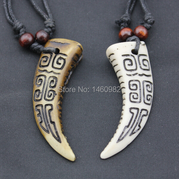 Cool Boy Men's Yak Bone Carved With Swastika Pendant Amulet Tooth Adjustable Necklace Gift YN163(China (Mainland))