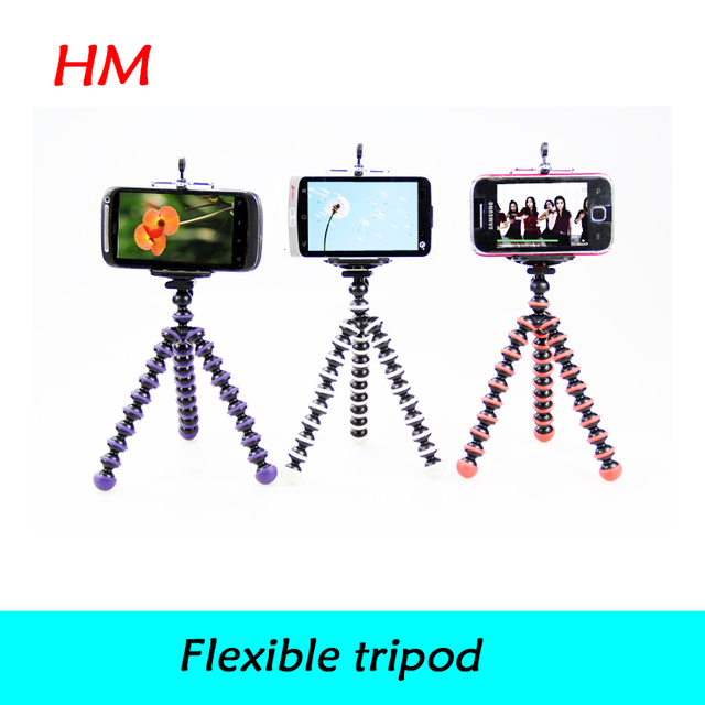 Electronic 2014 New Small Flexible Tripods Octopus Ball Head +Cell  Phone Holder for Mobile phone,mini camcorders