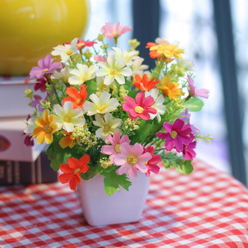 Silk Flowers Small Chrysanthemum +Plastic Vase Set Artificial flowers Wedding Home Office Decoration(China (Mainland))