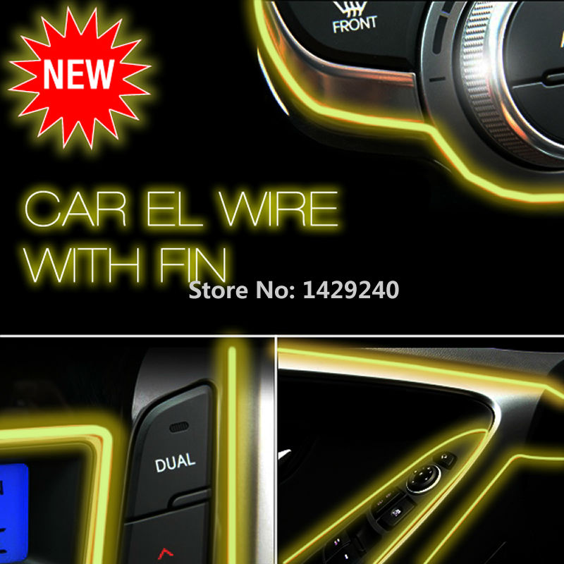 Amber 3m Flexible Moulding EL Neon Glow Lighting Rope Strip with fin for Car Decoration(China (Mainland))