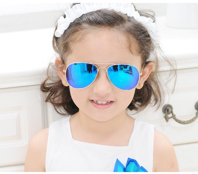 Детские поляризованные очки-авиаторы в металлической оправе