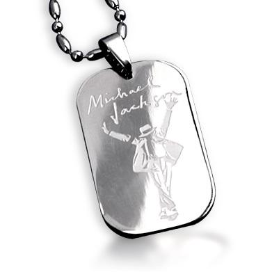 Bahamut MJ Michael Jackson Signature Dogtag Necklace Pendant Free With Chain Titanium Steel Jewelry(China (Mainland))