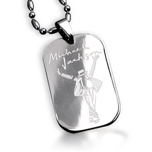 Bahamut MJ Michael Jackson Signature Dogtag Necklace Pendant Free With Chain Titanium Steel Jewelry(China (Mainland))