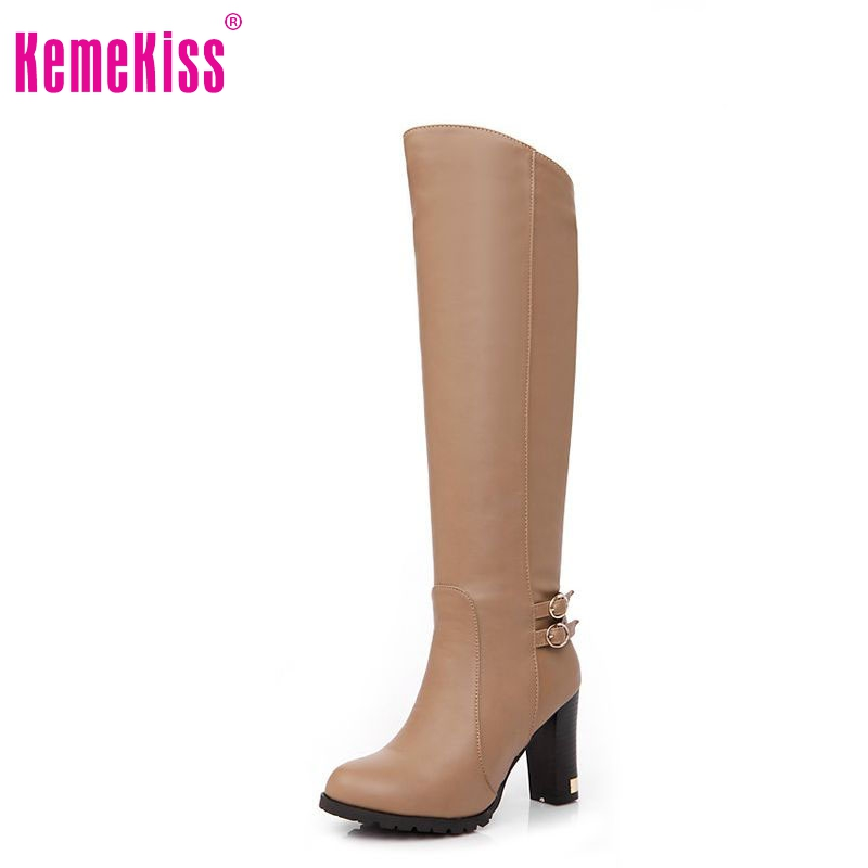 women high heel knee boots ladies fashion long snow boot warm winter botas heels footwear shoes P6870 size 34-43 - KemeKiss store
