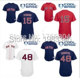 2015 Cool Base Boston Red Sox #48 Pabio Sandoval #15 Dustin Pedroia Baseball Jersey, Men Top Quality embroidered Baseball Jersey