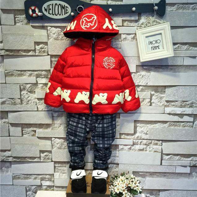 2015 New Fashion Childrens Kids Boys Winter Cartoon Wild Dog Padded Jacket (4 Size /Lot)
