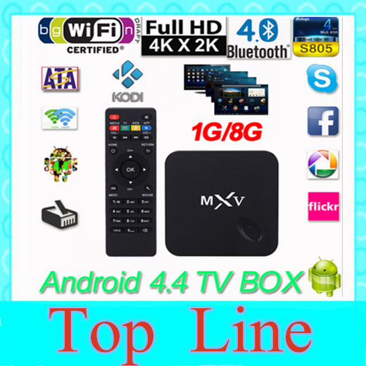 MXV Quad Core Android TV BOX S805 1GB/8GB Cortex 1.5 GHZ Android 4.4.2 KODI WIFI Bluetooth H.265 HEVC Media Player(China (Mainland))